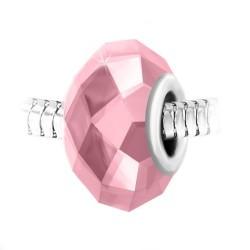 Талисман от неръждаема стомана с розов бохемски кристал