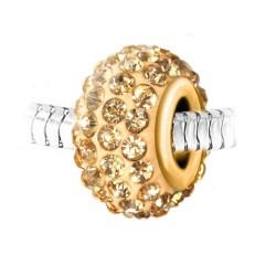 Талисман от неръждаема стомана със златисти бохемски кристали
